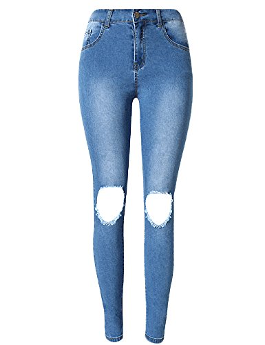 Women's Knee Hole High Waist Slim Skinny Leg Jeans