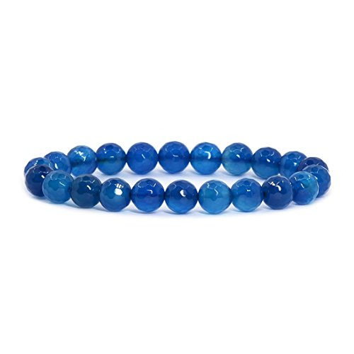 Faceted Stone Stretch Bracelet (Faceted Blue Agate Gemstone 8mm Round Beads Stretch Bracelet 7