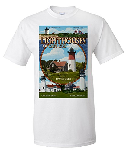 Cape Cod, Massachusetts - Lighthouses Montage (White T-Shirt Large) Massachusetts Lighthouse