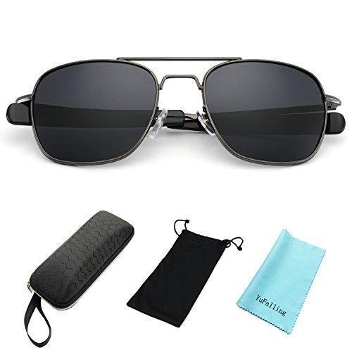 YuFalling Retro Polarized Aviator Sunglasses for Men and Women (gun metal frame/black lens, - Heads Best For Sunglasses Large