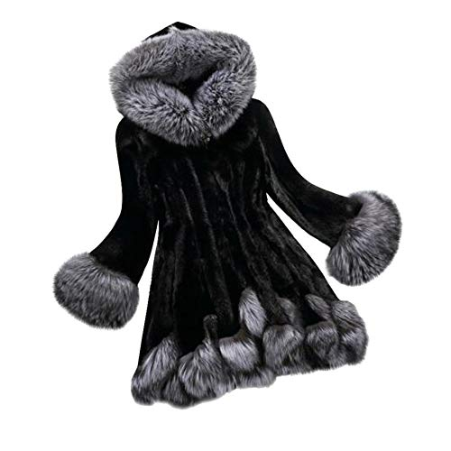TIFENNY Fashion Jacket for Women Long Sleeve Parka Outwear Fox Fur Coat - Print Fur Beanie Turtle