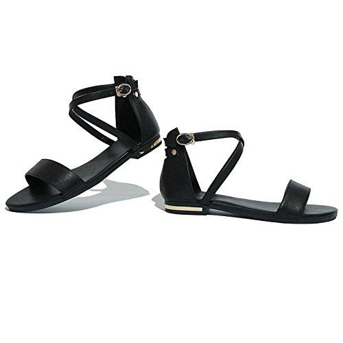 TAOFFEN Mujer Zapatos Moda Tacon De Vaquero Punta Abierta Sandalias De Hebilla De Al Tobillo Negro