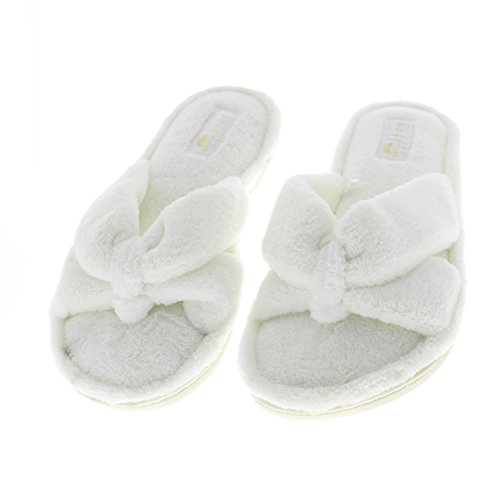 Gold Open Summer Flops Spa Slip Memory House Slippers Flip Bath Bow Foam Ivory Toe Scuff Plush Toe Womens On ZFwTqFp