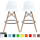Modern Counter Stools 2xhome - Set of Two (2) - White - 28