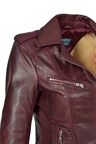 de Biker del Cuero Mujer Casual Cordero Chaqueta Oscuro Rojo Ajustada Kim Estilo Real gqCaFwf