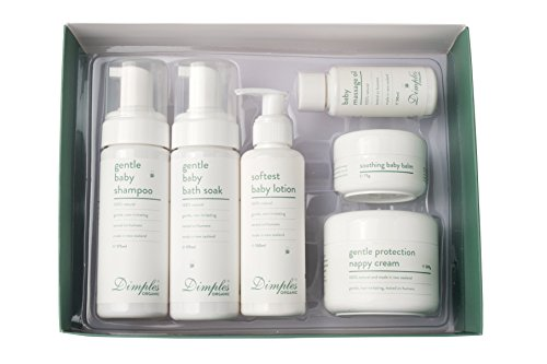 Baby Skin Care & Bathing Gift Set | Ultimate Baby Bliss Set by Dimples | Gentle Bath Soak, Soft Lotion, Gentle Shampoo, Gentle Protection Nappy Cream, Soothing Baby Balm and Relaxing Massage Oil | Org