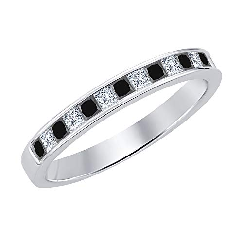 Princess Cut Black & White Diamond .925 Sterling Silver Engagement Wedding Band Ring for Women's