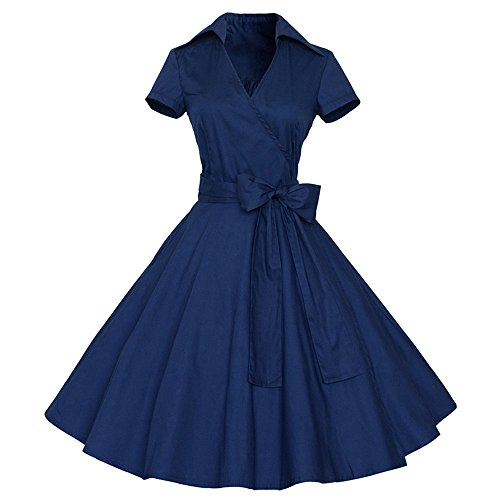 iZHH Women Fashion Vintage Dress 50S 60S Swing Pin up Retro Casual Housewife Party Dress(B-Navy,M) ()
