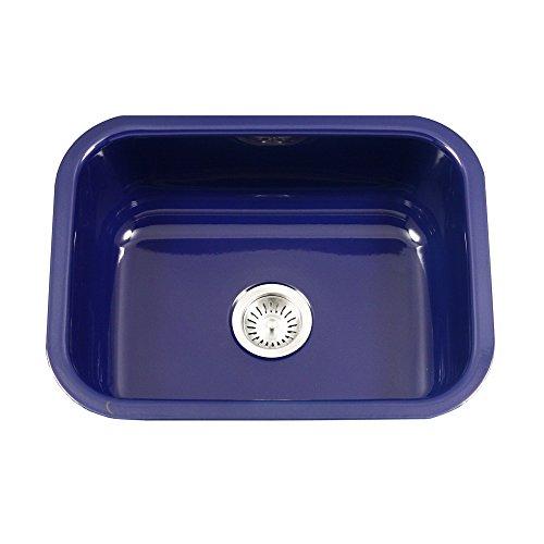 - Houzer PCS-2500 NB Porcela Series Porcelain Enamel Steel Undermount Single Bowl Kitchen Sink, Navy Blue