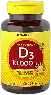 Carlyle Vitamin D3 (10,000 IU) Huge Size 400 Softgels, Non- GMO, Gluten Free