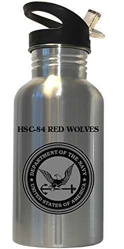 HSC-84 Red Wolves - US Navy Stainless Steel Water Bottle Straw Top, 1030
