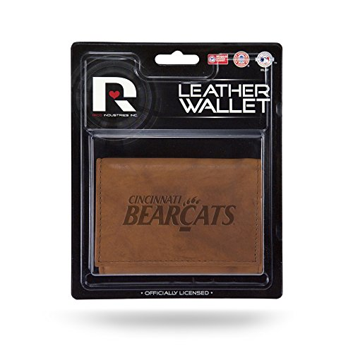 Rico NCAA Cincinnati Bearcats Leather Trifold Wallet with Man Made (Bearcats Mens Leather)