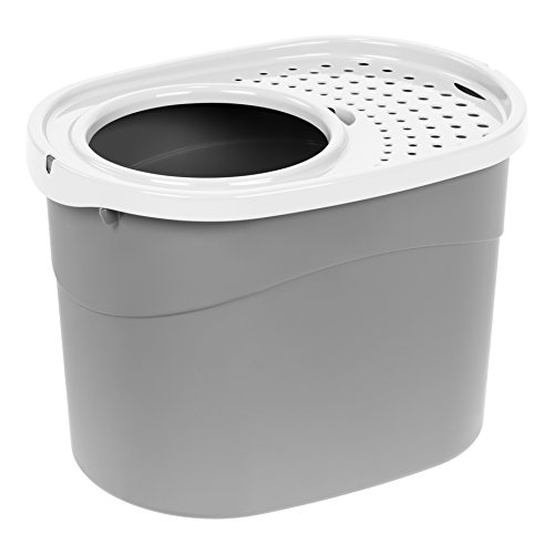 IRIS Top Entry Cat Litter Box, Gray/White