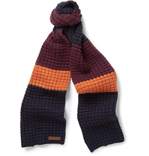 Burberry Wool Cashmere - Burberry Stripe Waffle Knit Wool Cashmere Blend Deep Claret/Navy Scarf