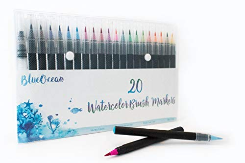 Premium Watercolor Brush Markers Pen Set - 20 Vivid Colors & BONUS Water Pen for Blending - Soft Flexible Tip, Durable Tools for Children/Adult Coloring Books, Manga, Comics, Calligraphy, Illustration by Blue Ocean LLC