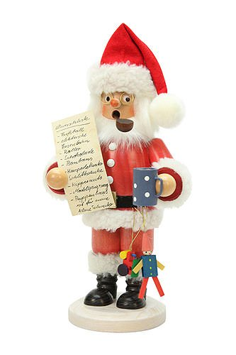 Smoker Santa Claus with Wishlist - 26cm / 10 inch - Christian Ulbricht by Christian Ulbricht Nutcrackers and Smokers