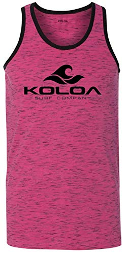 Koloa Surf Mens Classic Wave Heathered Ringer Tank Top-Pink-XL