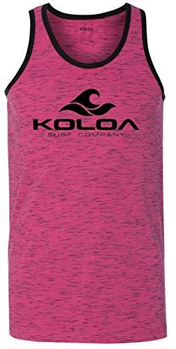 (Koloa Surf Mens Classic Wave Heathered Ringer Tank Top-Pink-XL)