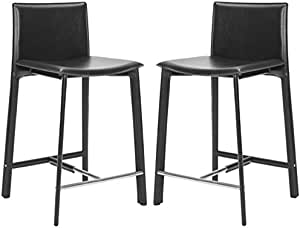 Safavieh Home Collection Janet Black Leather 24 Inch Counter Stool Set Of 2 Furniture Decor