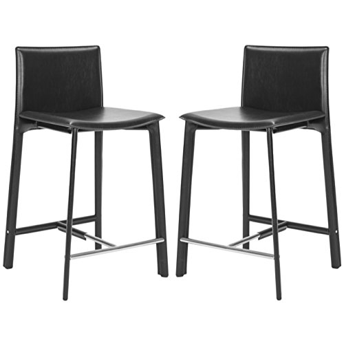 Safavieh Home Collection Janet Black Leather 24-inch Counter Stool (Set of 2) (Bar Collection Stool 24)