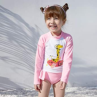 Girls UPF 50 Sun Protection Long Sleeve One Piece Swimsuit with Zipper