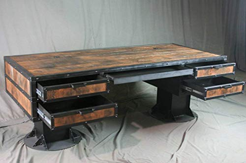 Vintage Industrial Wooden Desk with Drawers – Reclaimed Wood Desk – Urban Style Desk – Industrial Office Furniture…