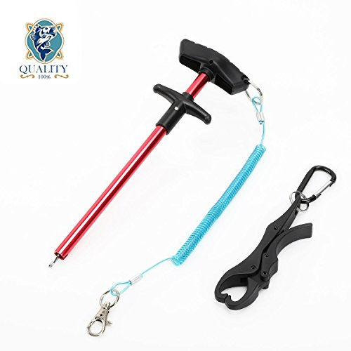 DICERO 10 inches Fishing Hook Remover with Stainless Coiled Lanyard Air Craft Aluminum Alloy with Oxidation (Bonus: Plastic Fish Lip Gripper Free for ()