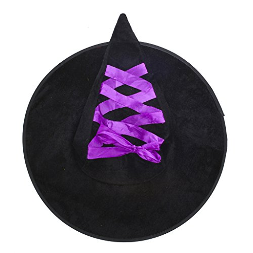 Lux Accessories Black and Purple Lace Up Ribbon Halloween Witch Hat (Collection Halloween Movie Scary Village)