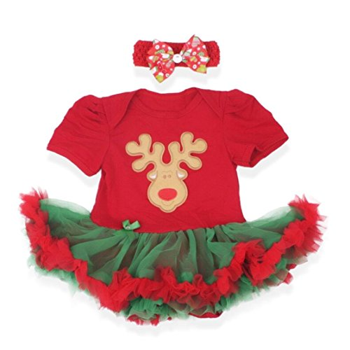 [Baby's All in 1 Fancy Dress Halloween Christmas Princess Party Romper Suits (L (6-12 Months),] (Reindeer Infant Costumes)