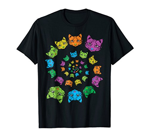 Vintage Cat T-Shirt Kaleidoscope Spiral Funny Cats Retro