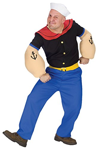 Fun World Men's Plus Size Popeye Adult Costume, Multi Plus -