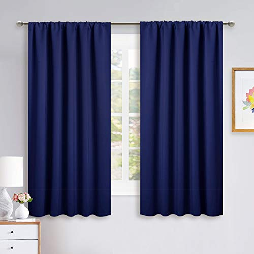 NICETOWN Curtains Blackout Draperies - Modern Design Thermal Insulated Solid Rod Pocket Top Blackout Drapes for Kid's Bedroom, Window Covering (Navy Blue, 1 Pair, 52 x 63 inches)