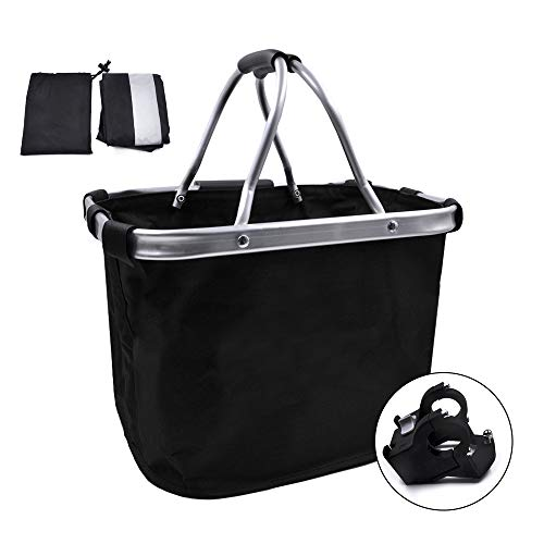 ANZOME Bike Basket, Reflective Waterproof Rain Cover Set Foldable Bicycle Front Basket Small Pet Cat Dog Carrier Front Removable Bicycle Handlebar Basket Quick Release Easy Install Detachable Cycling