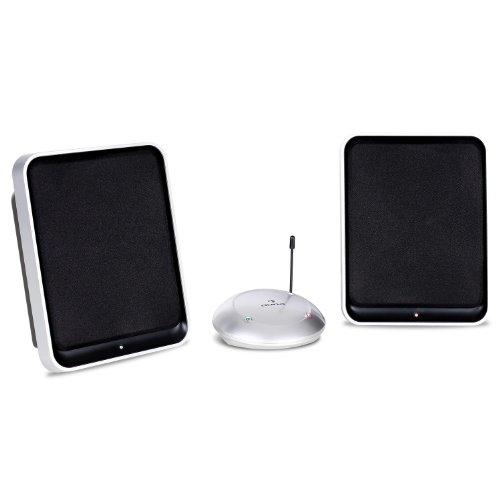 Auna aktive kabellos/wireless UHF-Funklautsprecher-Set Funkboxen für Wohnung, Garten, Terasse (863MHz, 400 Watt, bis 100m Reichweite)