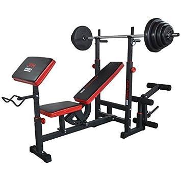 TrainHard - Multi Función Banco de pesas banco de entrenamiento con largo de y mancuernas, 70 kg: Amazon.es: Deportes y aire libre