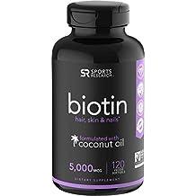Biotin infused with organic virgin coconut oil - 5000iu (120 veggie-softgels)