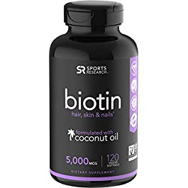 Biotin (5,000mcg) with Coconut Oil | Supports Healthy Hair, Skin & Nails in Biotin deficient Individuals | Non-GMO…