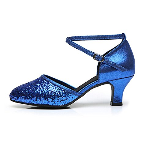Ballroom Shoes Sequins Heel Blue 5 Heel Women's Latin Toe 5 Leather Practice Low Cross Kitten Closed Sole Straps FznCwq