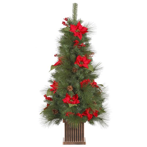Potted Poinsettia (Vickerman Unlit Poinsettia Berry and Pine Cone Potted Artificial Christmas Tree, 4')