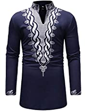 Luxfan Mens African Clothing Tribal Dashiki Print Long Shirt Traditional Ethnic Slim Fit Outfit S-3XL