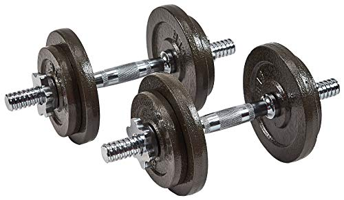 Sporzon! Contoured Handle Cast Iron Adjustable Dumbbell Weight Set