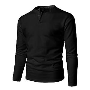 H2H Mens Casual Regular Fit Basic Henley Long Sleeve T-Shirt Black US XXL/Asia XXL (KMTTL0446)