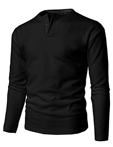 H2H Mens Casual Loose Fit Henley Shirts With Bound Pocket Of Waffle Cotton Black US XL/Asia XL (Bound Neck)