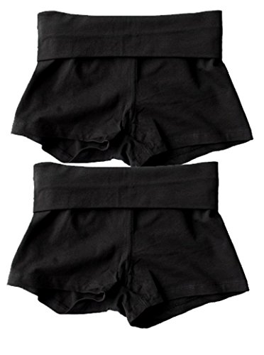Waist Band Contrast Yoga Fold Over Shorts (Medium, 2 Pack: Black)