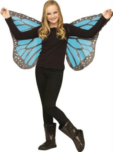 Fun World Soft Butterfly Wings Blue for Halloween, School Acting, Costume Party, for Girls (Kids) Child Size (1 Pack)