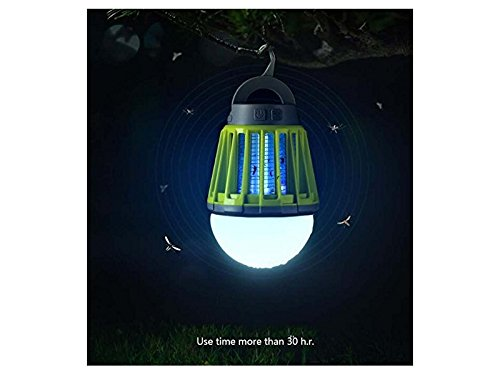 Yunqir Compatible Multi-Function LED Household Mosquito Lamp Portable Mosquito Insect Exterminator Fly Swatter Camping Tent Waterproof Lamp (Green)