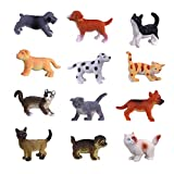 Hunson Mini Cat Dog Figurines (12 PCs) Realistic Looking Cat Kitten Figures Puppy Dog Figures...