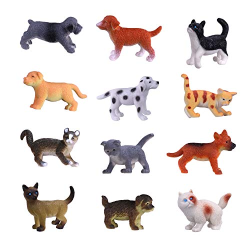Hunson Mini Cat Dog Figurines (12 PCs) Realistic Looking Cat Kitten Figures Puppy Dog Figures Cupcake Toppers Gift for Boys Girls Cat and Puppy Collection Decoration Party Favors -