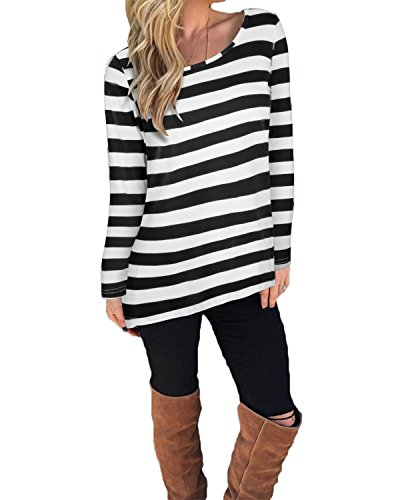 KILIG Women's Casual Long Sleeve Cotton Halloween Stripes T-Shirt Tops(Black,M)