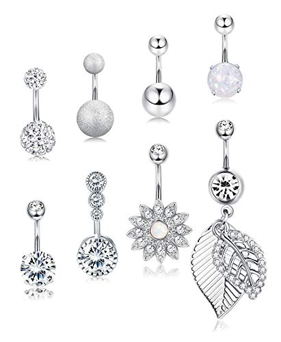 Yadoca 8 Pcs 14G Belly Button Rings Stainless Steel Curved Dangle Navel Rings CZ Barbell Body Piercing Jewelry for Women Girls
